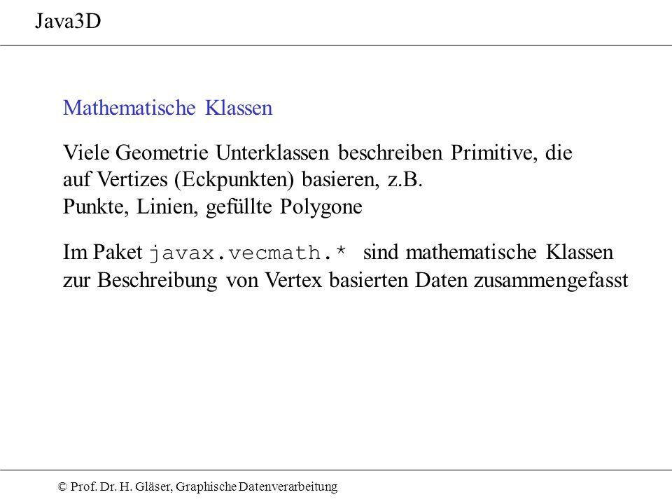 Java3D Mathematische Klassen. Viele Geometrie Unterklassen beschreiben Primitive, die. auf Vertizes (Eckpunkten) basieren, z.B.