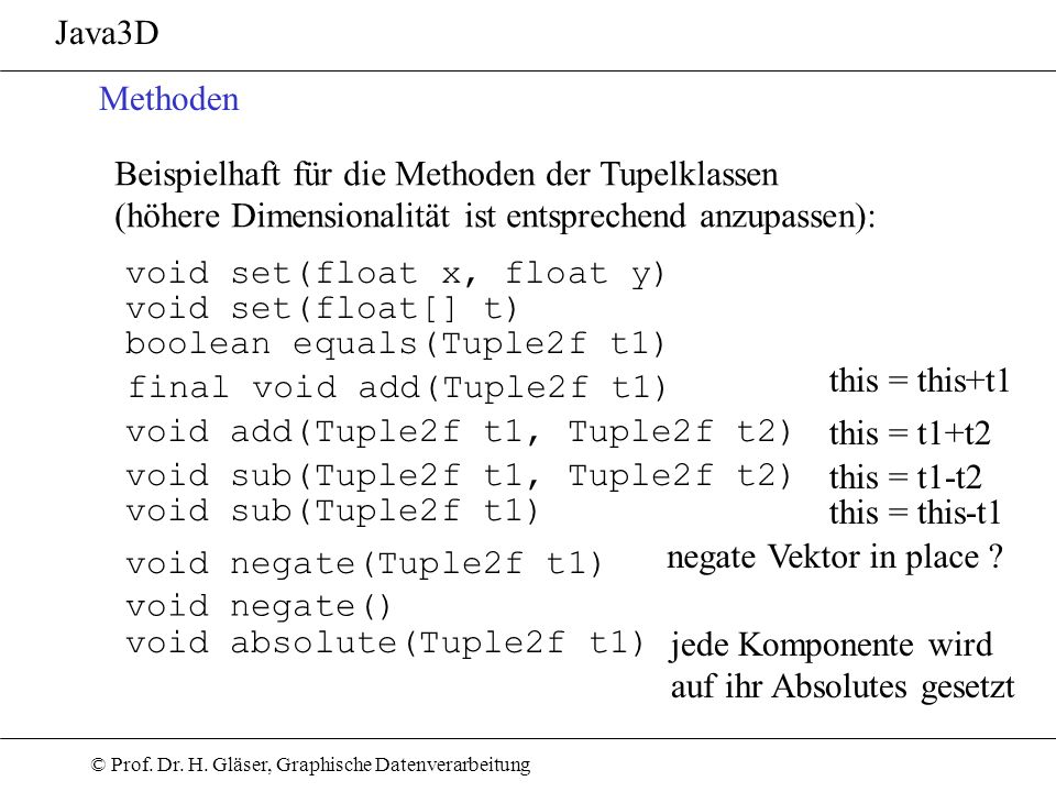 Java3D Methoden. Beispielhaft für die Methoden der Tupelklassen. (höhere Dimensionalität ist entsprechend anzupassen):