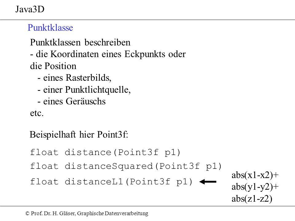 Java3D Punktklasse. Punktklassen beschreiben. - die Koordinaten eines Eckpunkts oder. die Position.