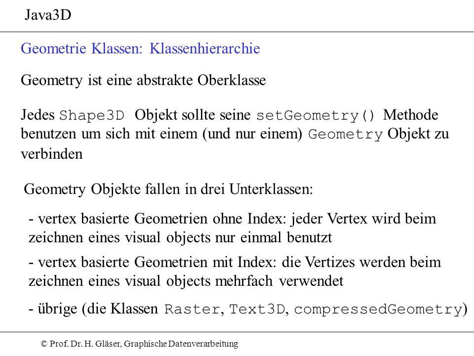 Java3D Geometrie Klassen: Klassenhierarchie. Geometry ist eine abstrakte Oberklasse. Jedes Shape3D Objekt sollte seine setGeometry() Methode.