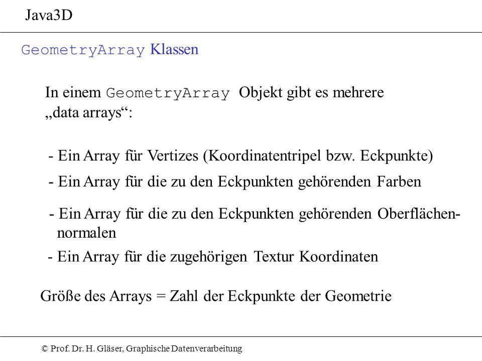 "Java3D GeometryArray Klassen. In einem GeometryArray Objekt gibt es mehrere. ""data arrays :"