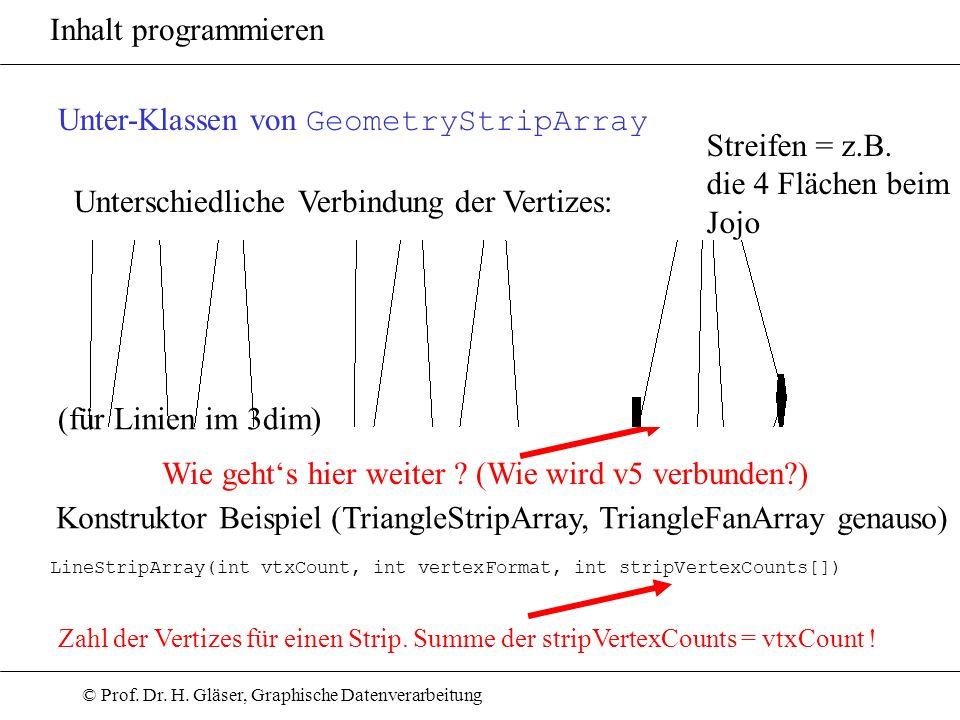 Unter-Klassen von GeometryStripArray Streifen = z.B.