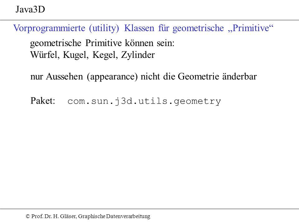 """Java3D Vorprogrammierte (utility) Klassen für geometrische """"Primitive geometrische Primitive können sein:"""