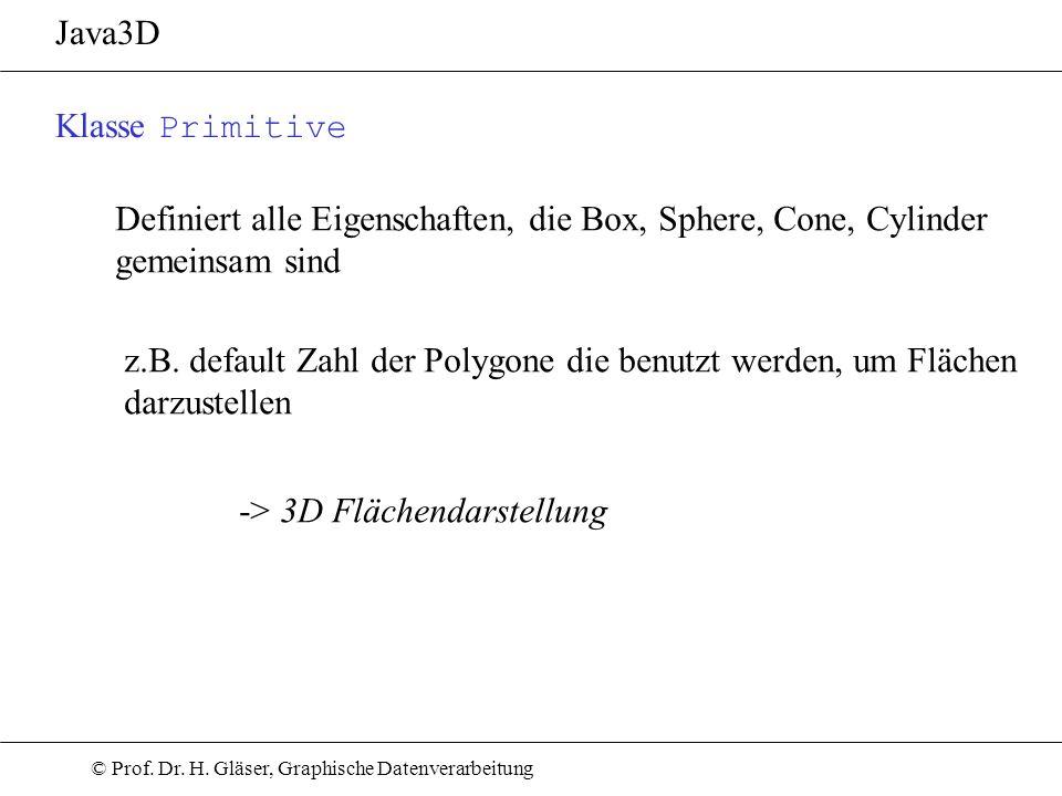 Java3D Klasse Primitive. Definiert alle Eigenschaften, die Box, Sphere, Cone, Cylinder gemeinsam sind.