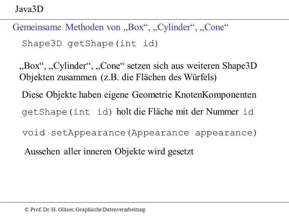 """Java3D Gemeinsame Methoden von """"Box , """"Cylinder , """"Cone Shape3D getShape(int id)"""