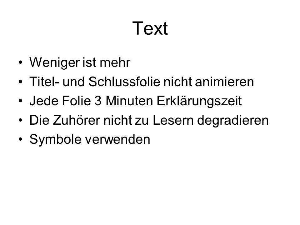Text Weniger ist mehr Titel- und Schlussfolie nicht animieren