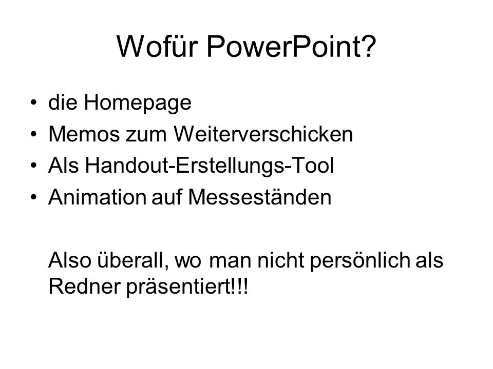 Wofür PowerPoint die Homepage Memos zum Weiterverschicken