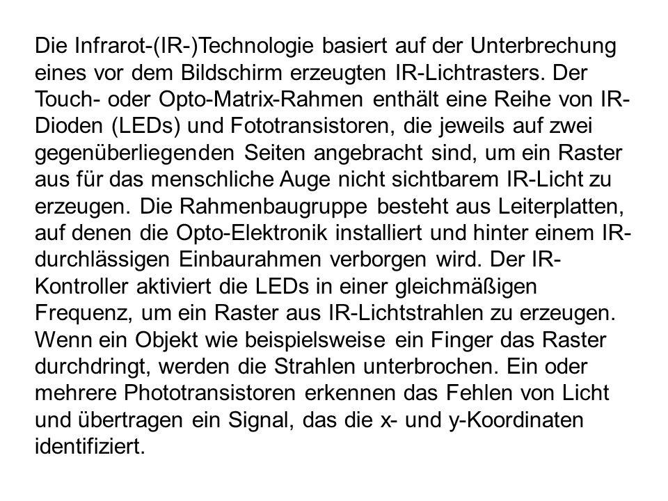 Die Infrarot-(IR-)Technologie basiert auf der Unterbrechung eines vor dem Bildschirm erzeugten IR-Lichtrasters.