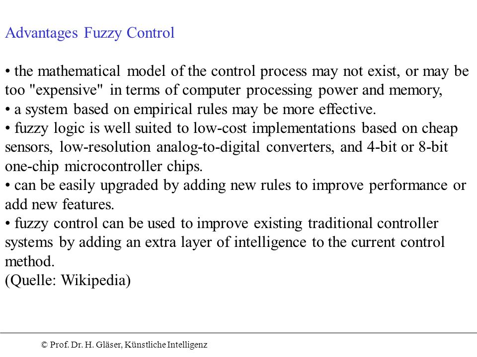 Advantages Fuzzy Control