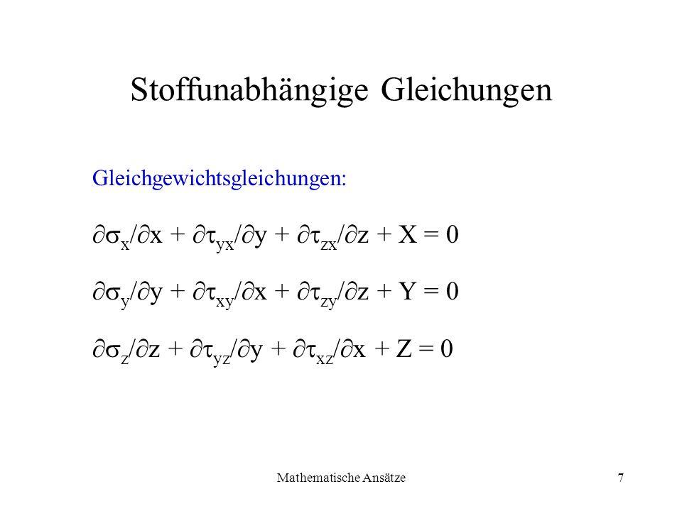Stoffunabhängige Gleichungen