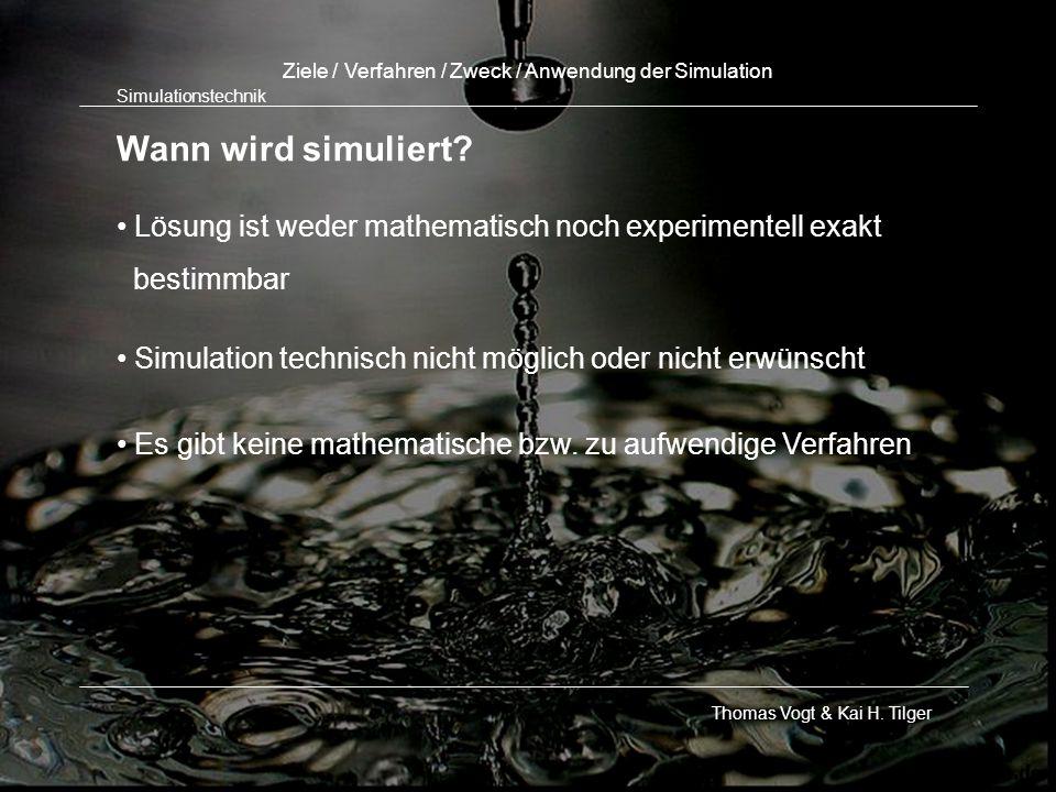 Ziele / Verfahren / Zweck / Anwendung der Simulation
