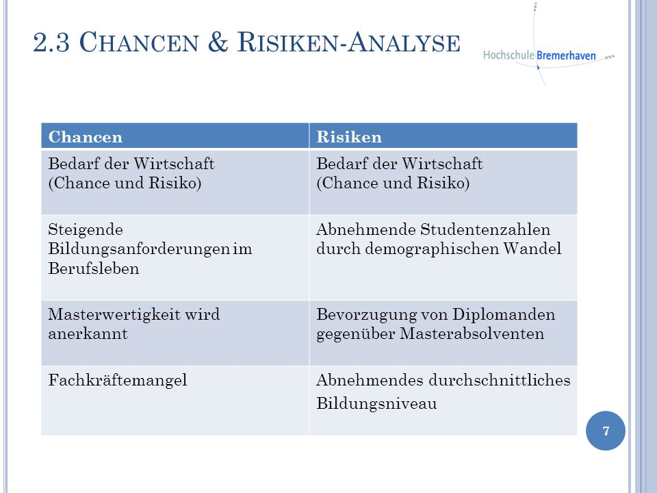 2.3 Chancen & Risiken-Analyse
