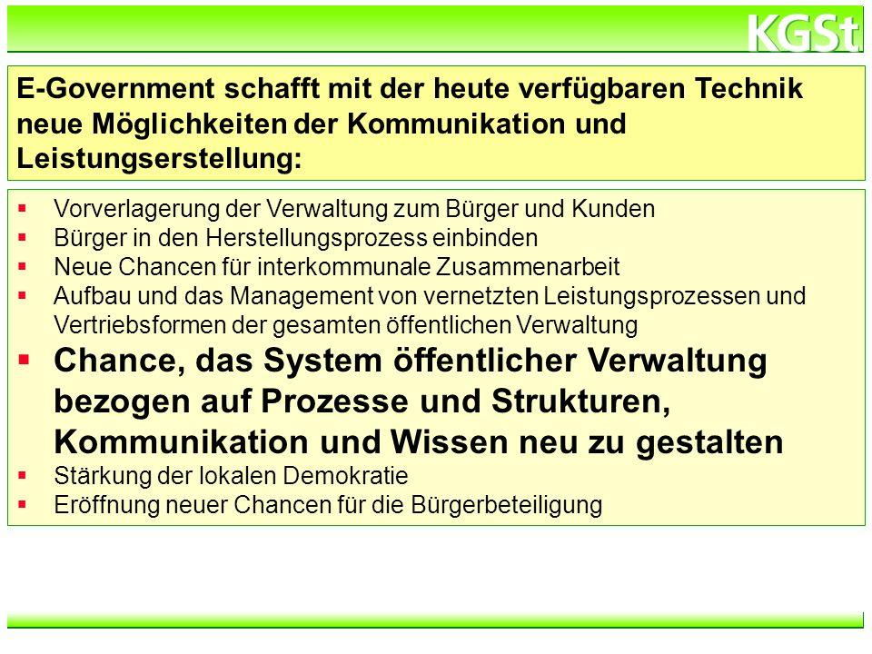 E-Government schafft mit der heute verfügbaren Technik neue Möglichkeiten der Kommunikation und Leistungserstellung: