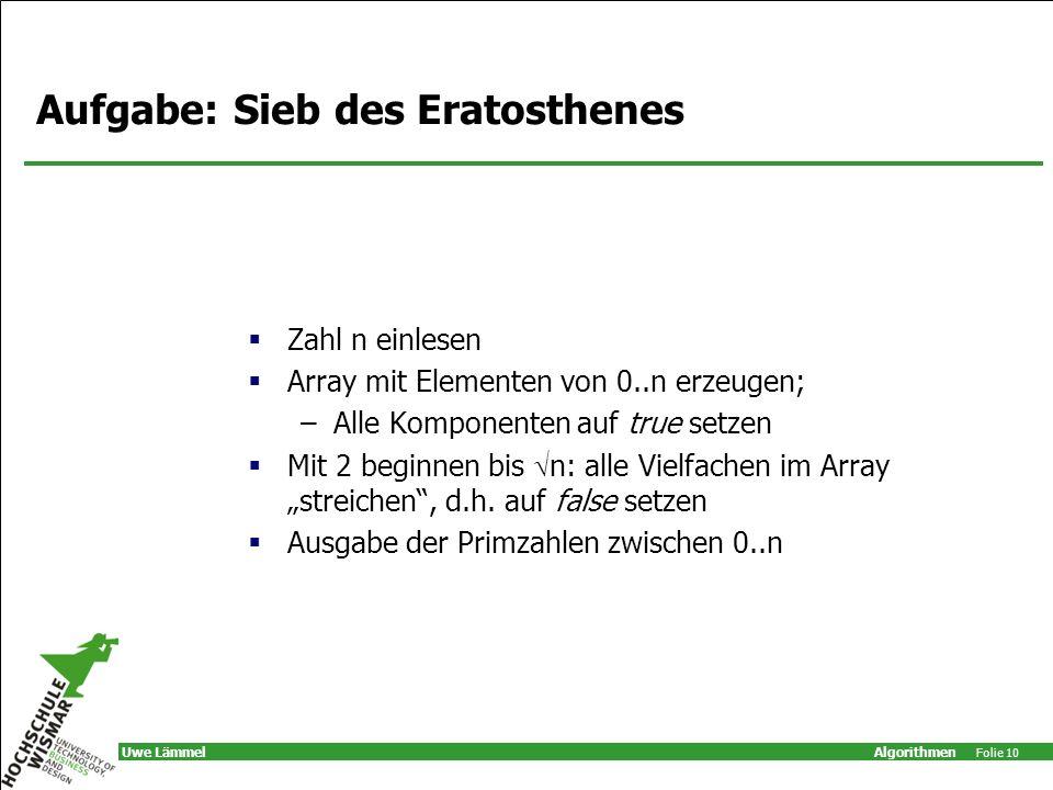 Aufgabe: Sieb des Eratosthenes