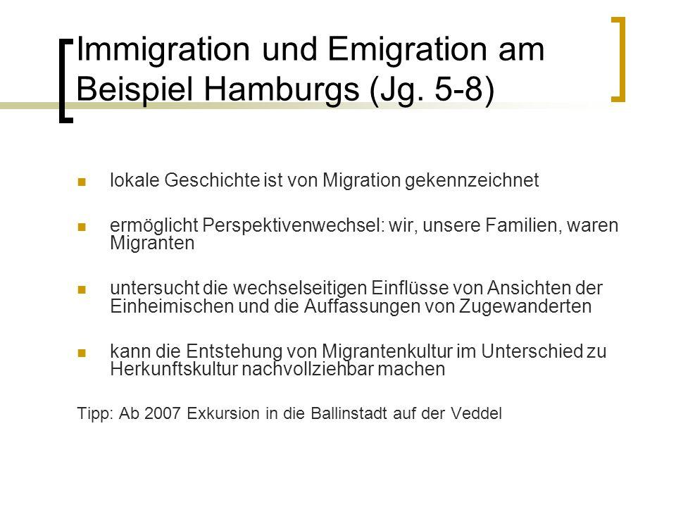 Immigration und Emigration am Beispiel Hamburgs (Jg. 5-8)