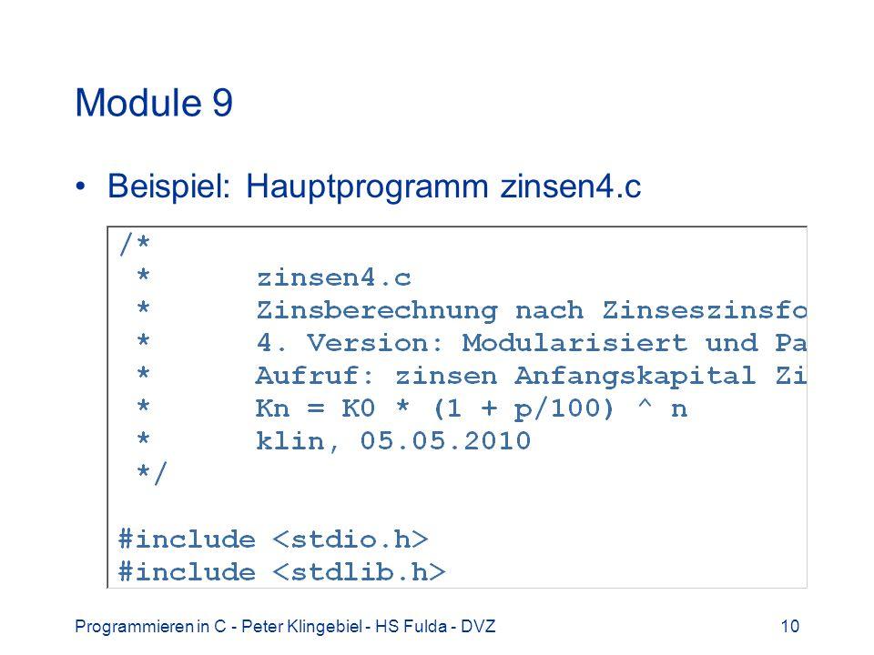 Module 9 Beispiel: Hauptprogramm zinsen4.c