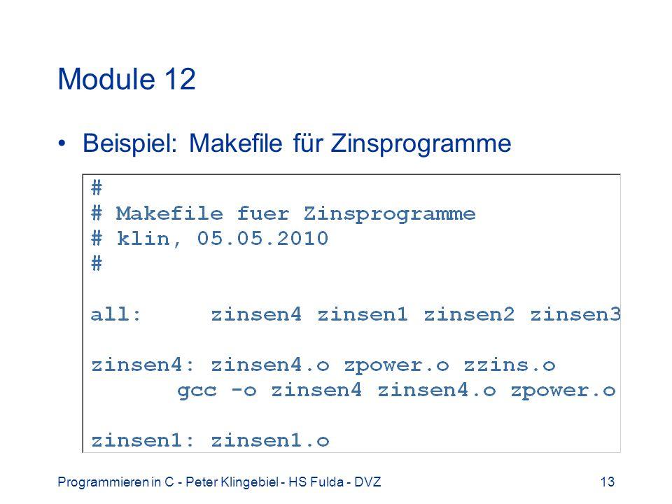 Module 12 Beispiel: Makefile für Zinsprogramme