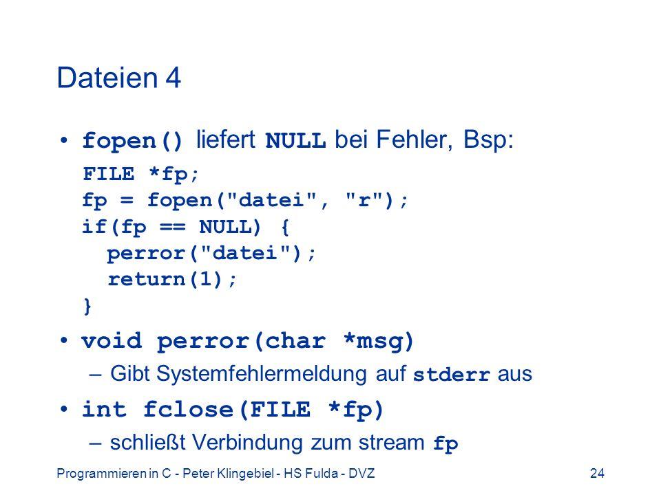 Dateien 4 fopen() liefert NULL bei Fehler, Bsp: void perror(char *msg)