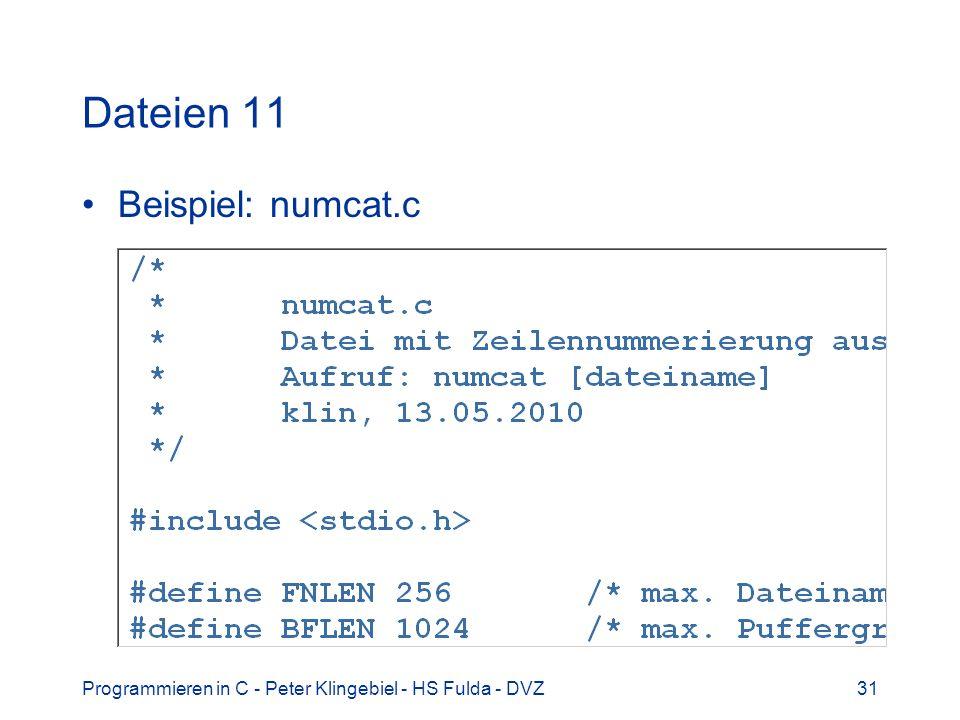 Dateien 11 Beispiel: numcat.c
