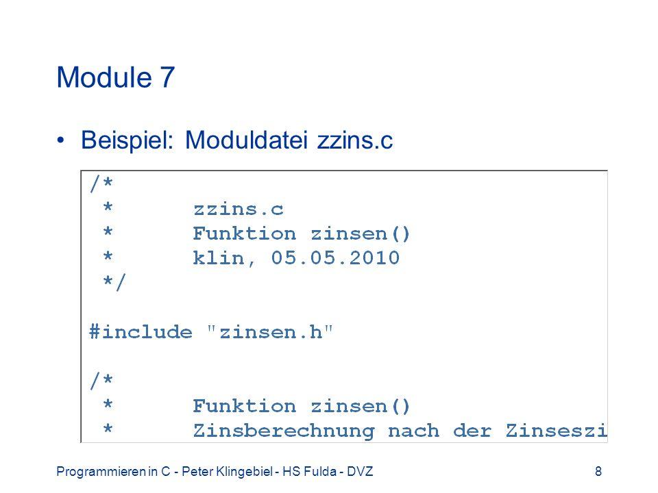 Module 7 Beispiel: Moduldatei zzins.c