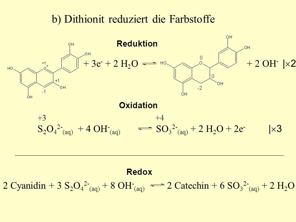 b) Dithionit reduziert die Farbstoffe