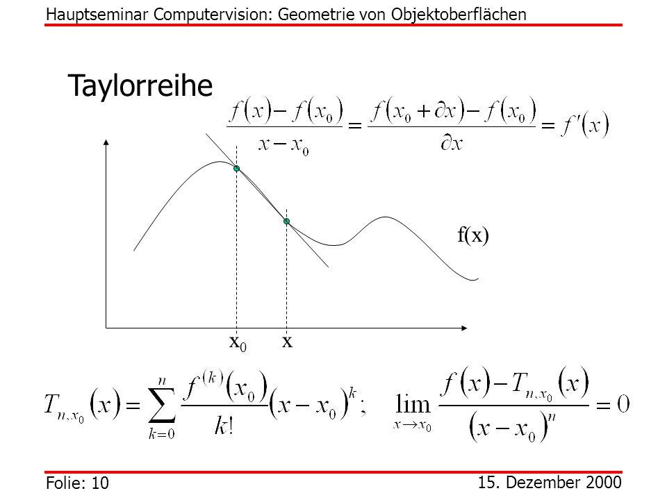 Hauptseminar Computervision: Geometrie von Objektoberflächen