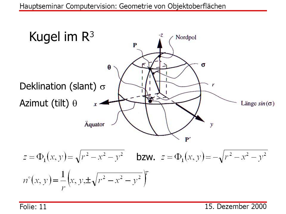 Kugel im R3 Deklination (slant)  Azimut (tilt)  bzw.