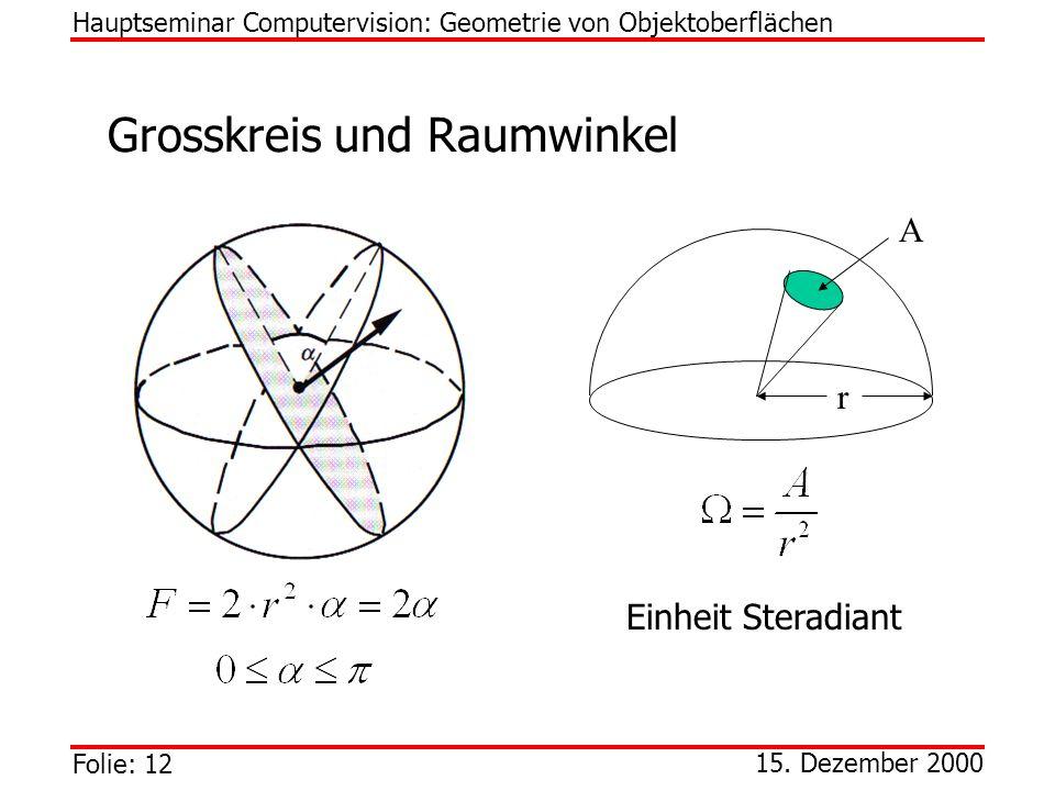 Grosskreis und Raumwinkel