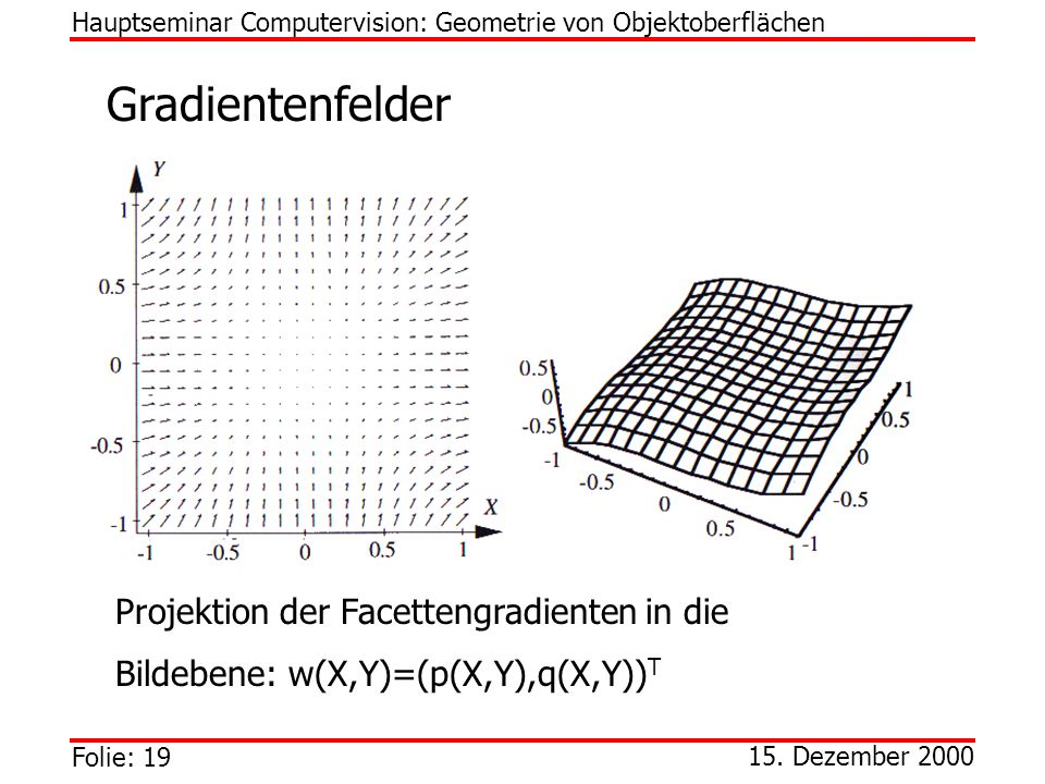 Gradientenfelder Projektion der Facettengradienten in die