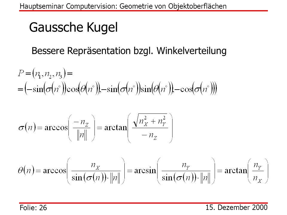 Gaussche Kugel Bessere Repräsentation bzgl. Winkelverteilung