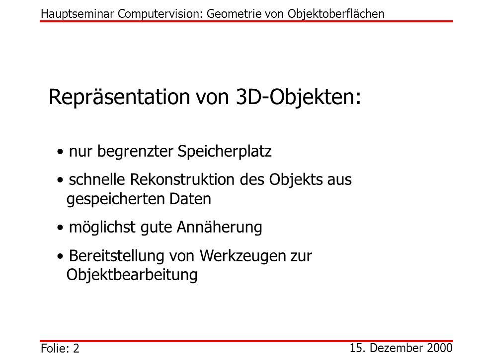 Repräsentation von 3D-Objekten: