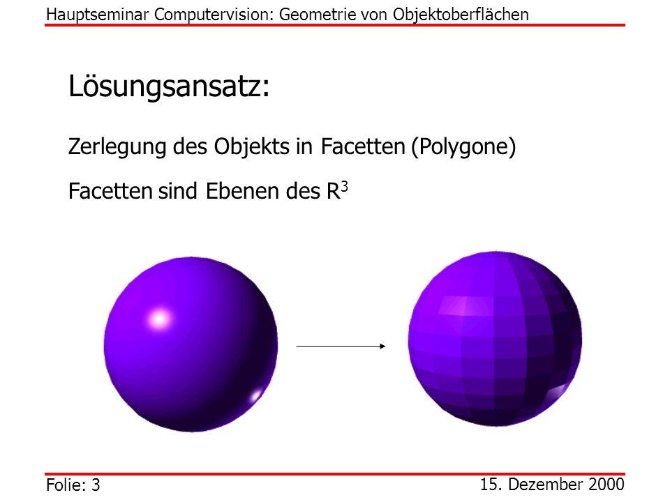 Lösungsansatz: Zerlegung des Objekts in Facetten (Polygone)