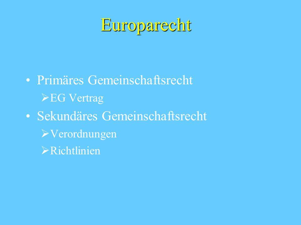 Europarecht Primäres Gemeinschaftsrecht Sekundäres Gemeinschaftsrecht