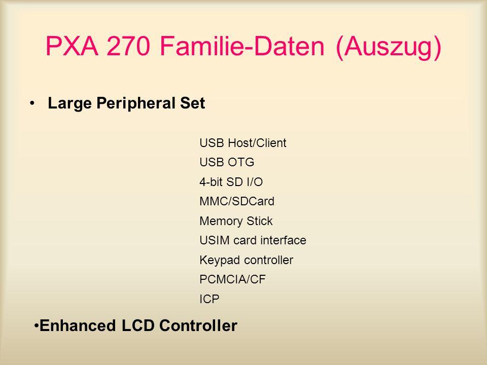 PXA 270 Familie-Daten (Auszug)