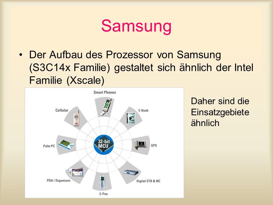 Samsung Der Aufbau des Prozessor von Samsung (S3C14x Familie) gestaltet sich ähnlich der Intel Familie (Xscale)
