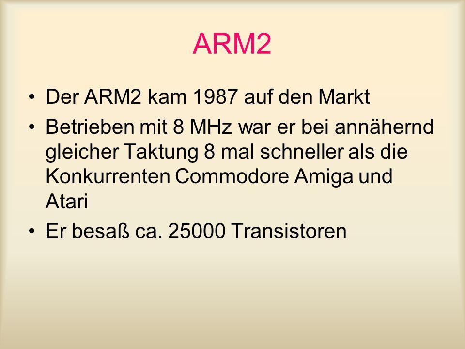 ARM2 Der ARM2 kam 1987 auf den Markt