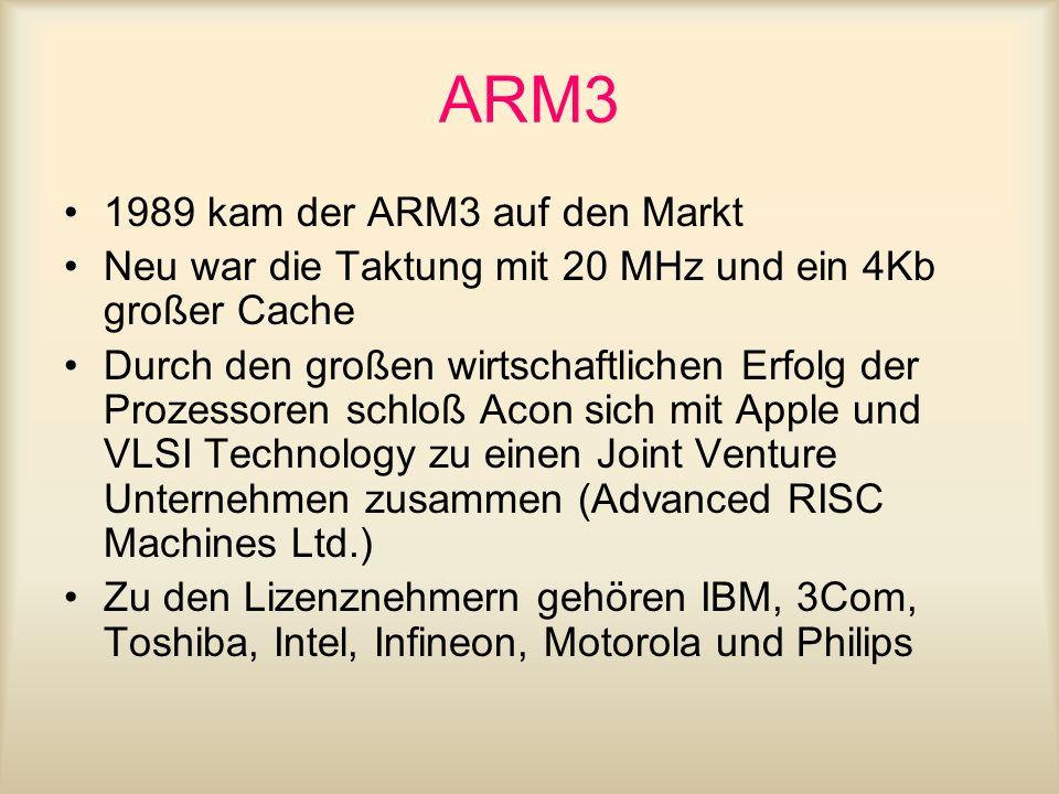 ARM3 1989 kam der ARM3 auf den Markt
