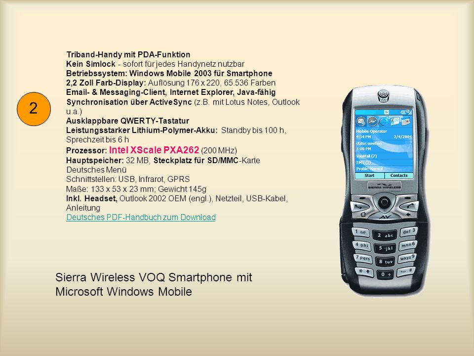 2 Sierra Wireless VOQ Smartphone mit Microsoft Windows Mobile