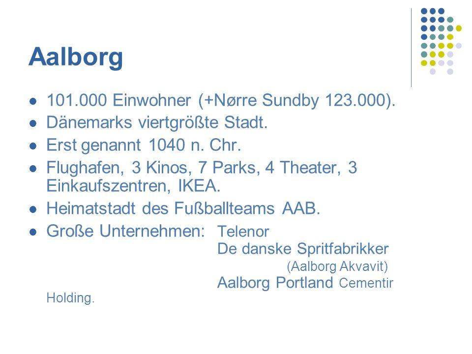 Aalborg 101.000 Einwohner (+Nørre Sundby 123.000).
