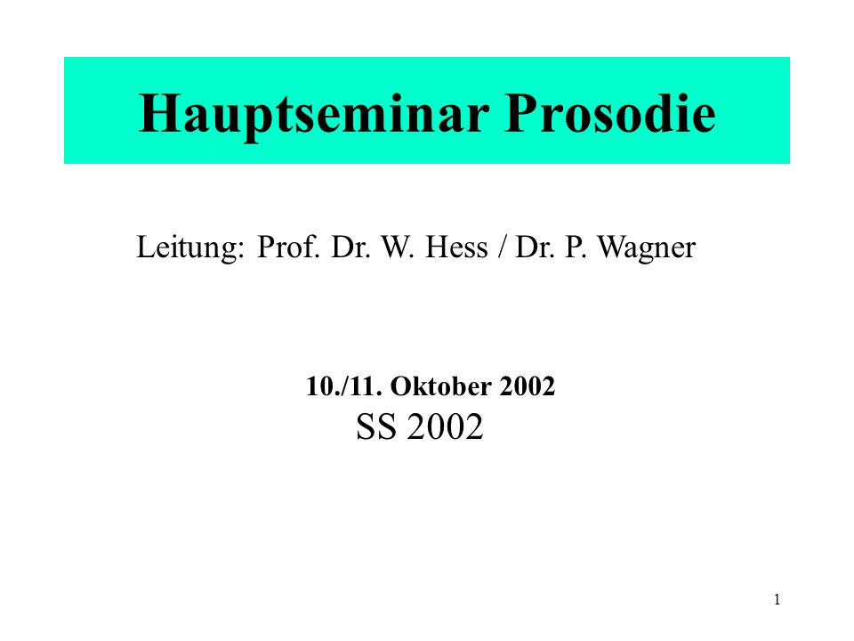 Hauptseminar Prosodie