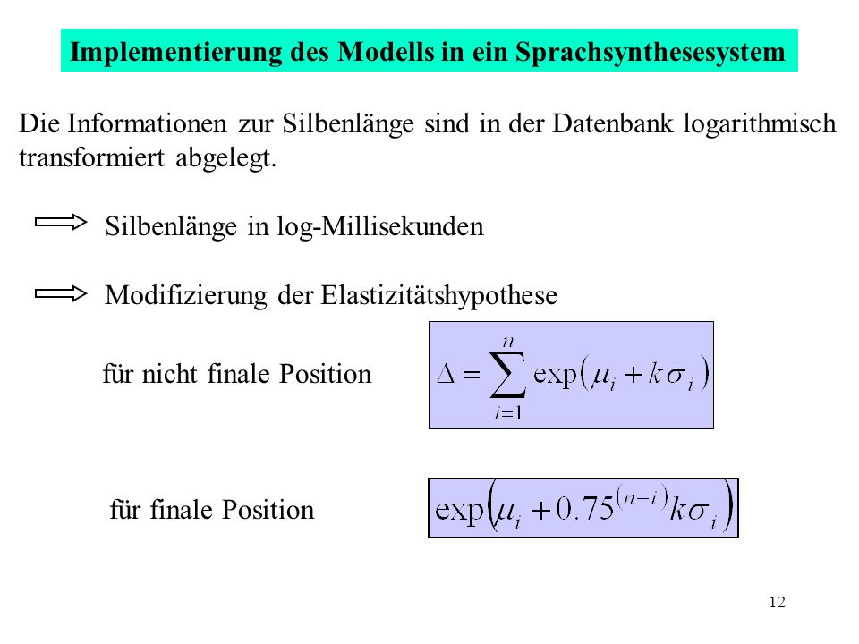 Implementierung des Modells in ein Sprachsynthesesystem