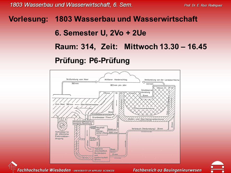 Vorlesung: 1803 Wasserbau und Wasserwirtschaft
