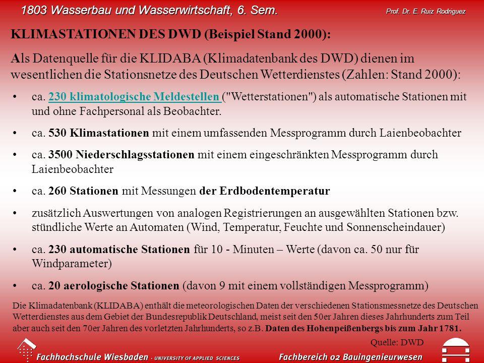 KLIMASTATIONEN DES DWD (Beispiel Stand 2000):