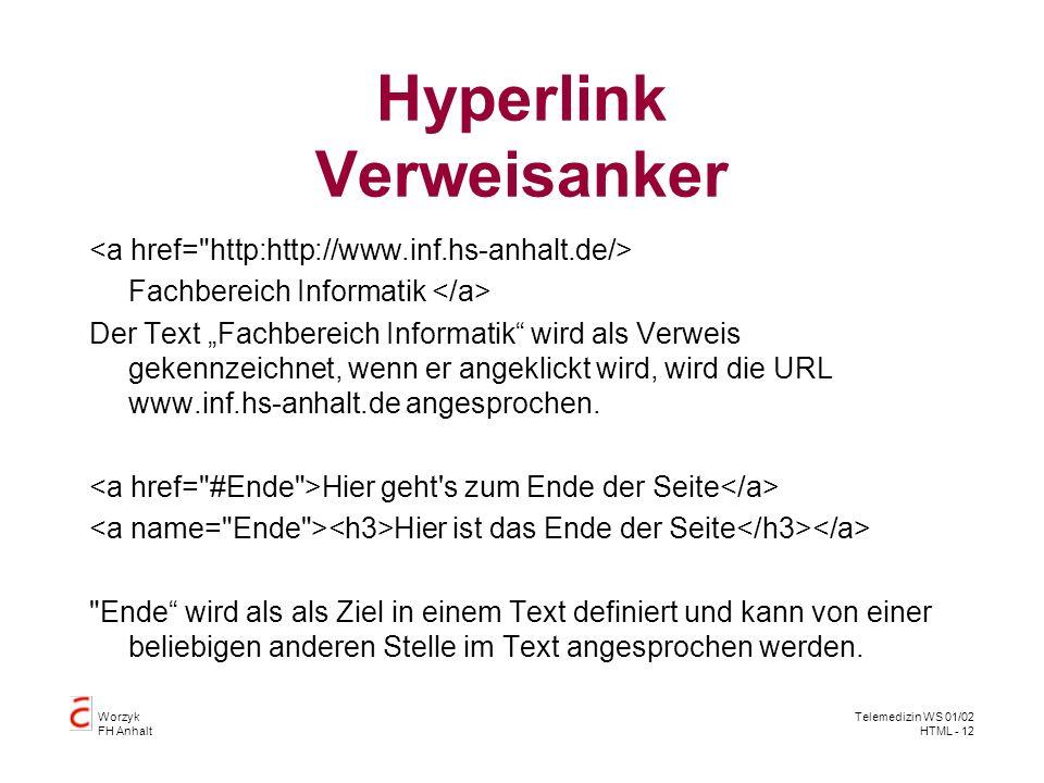 Hyperlink Verweisanker