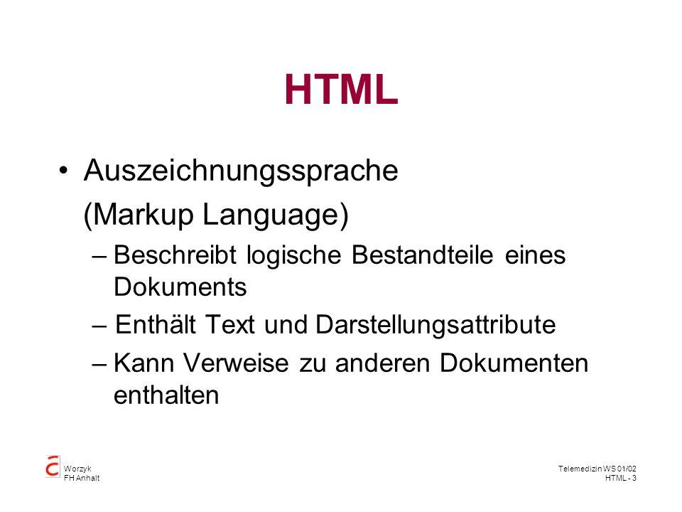 HTML Auszeichnungssprache (Markup Language)