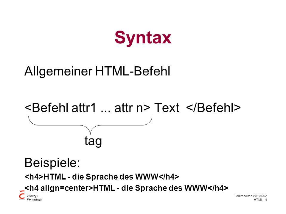 Syntax Allgemeiner HTML-Befehl