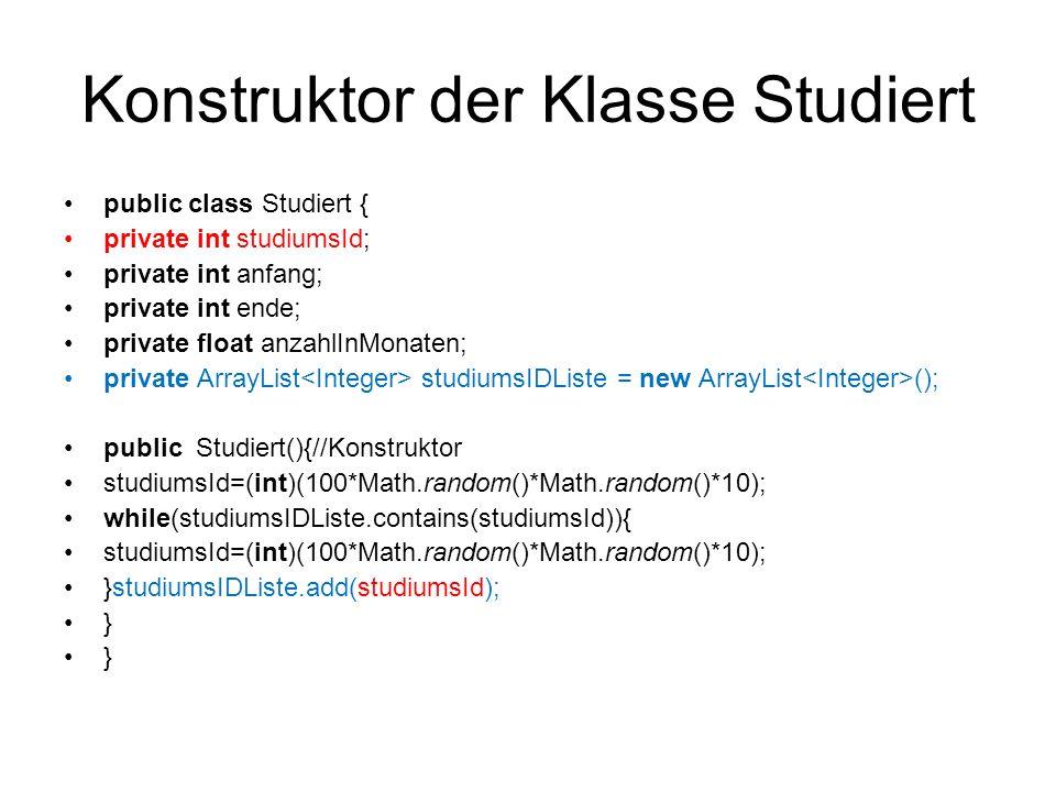 Konstruktor der Klasse Studiert