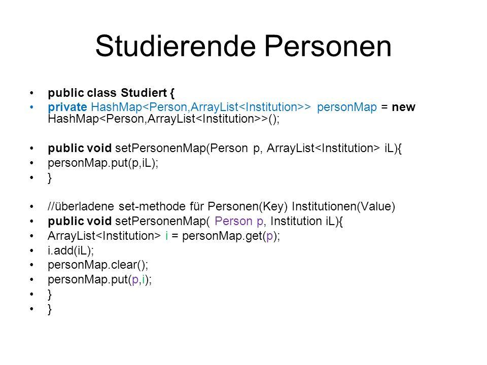 Studierende Personen public class Studiert {