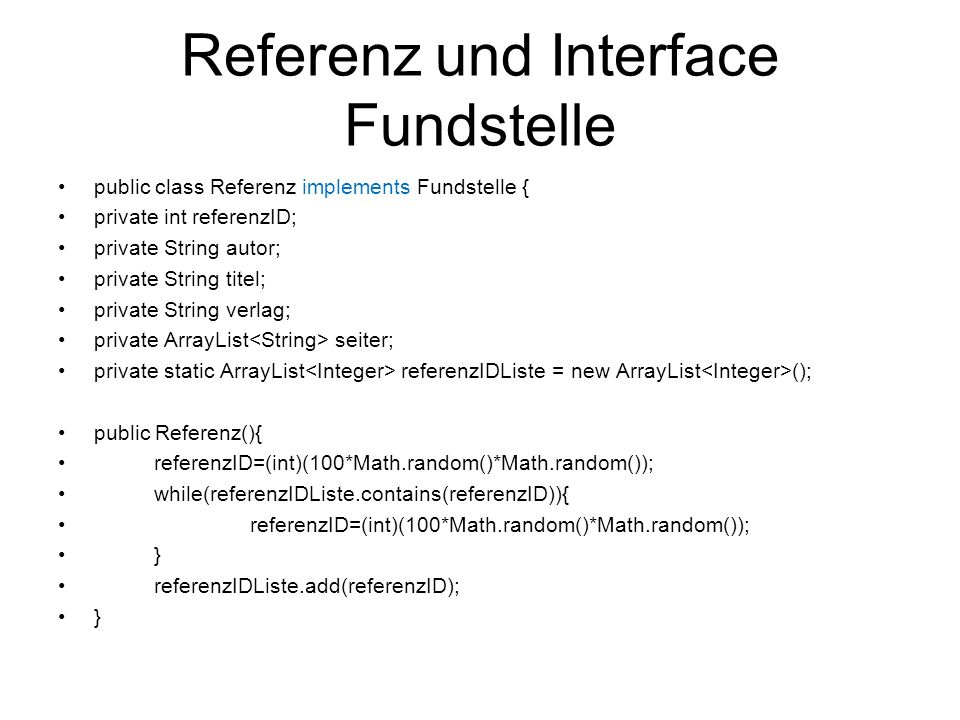 Referenz und Interface Fundstelle