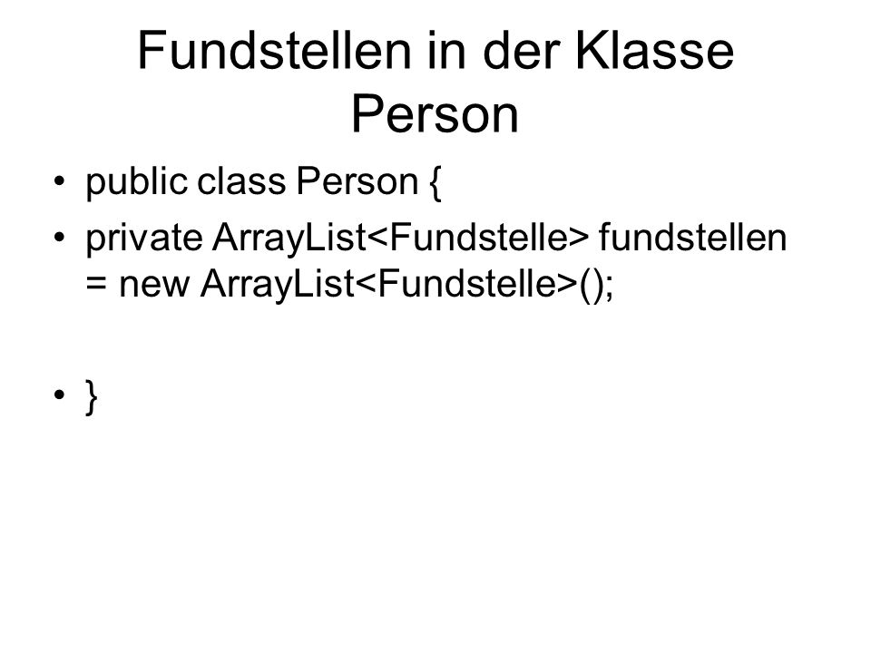 Fundstellen in der Klasse Person
